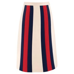 Gucci Signature blue and red Striped crepe skirt US 4