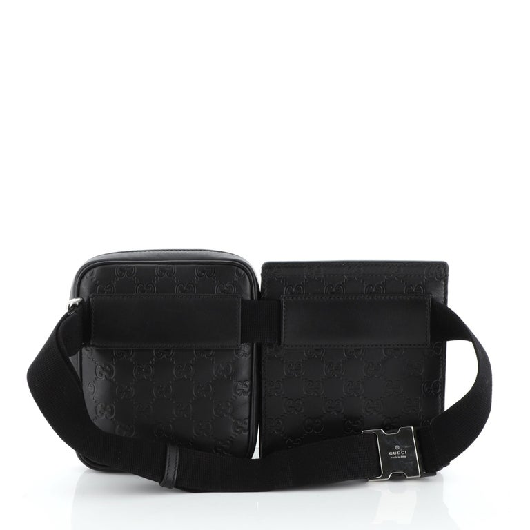Gucci Signature Double Waist Bag Guccissima Leather In Good Condition For Sale In New York, NY