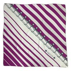 Gucci Silk Crepe Scarf With Diagonal Nautical Print 34 x 34