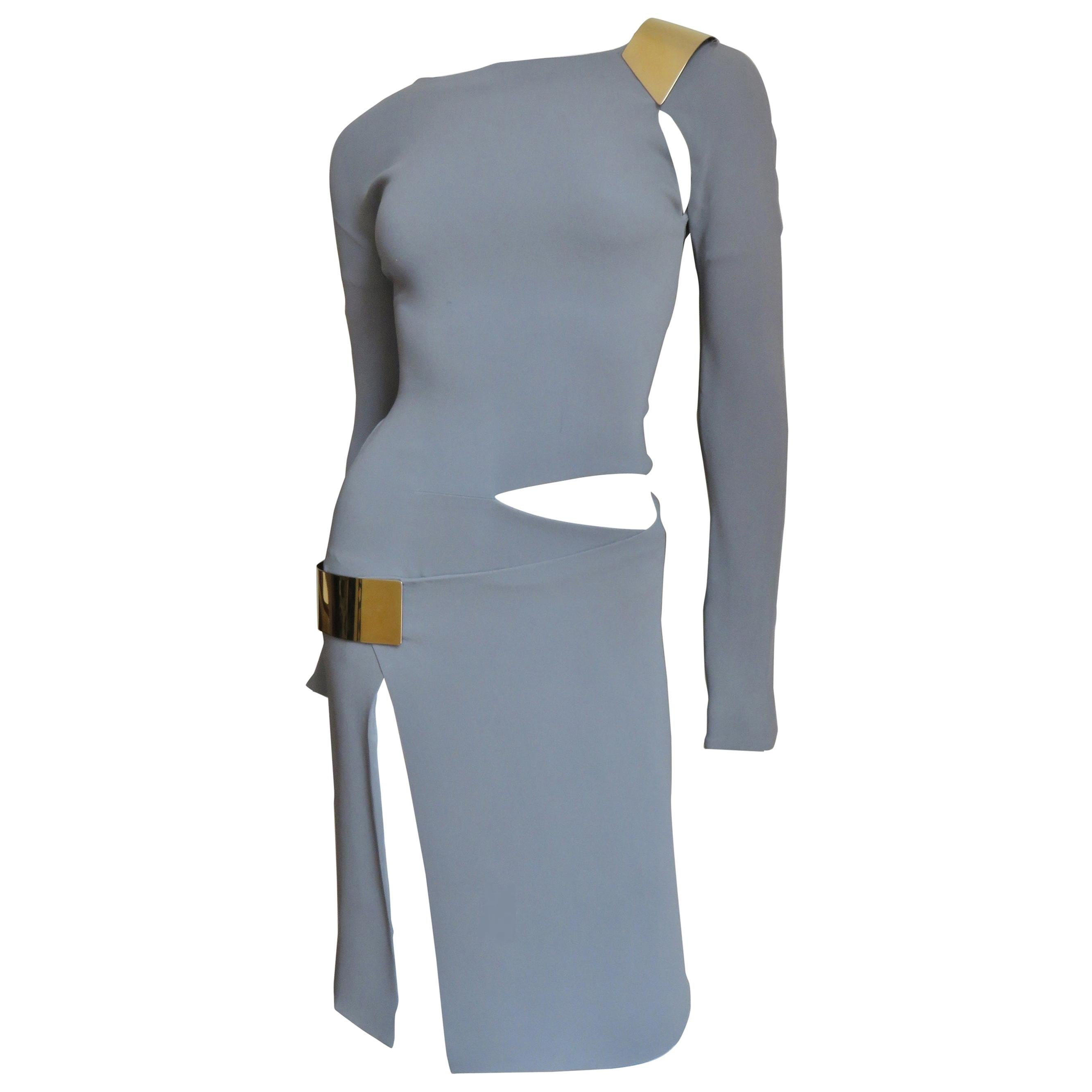 Gucci Silk Cut out Dress With Hardware