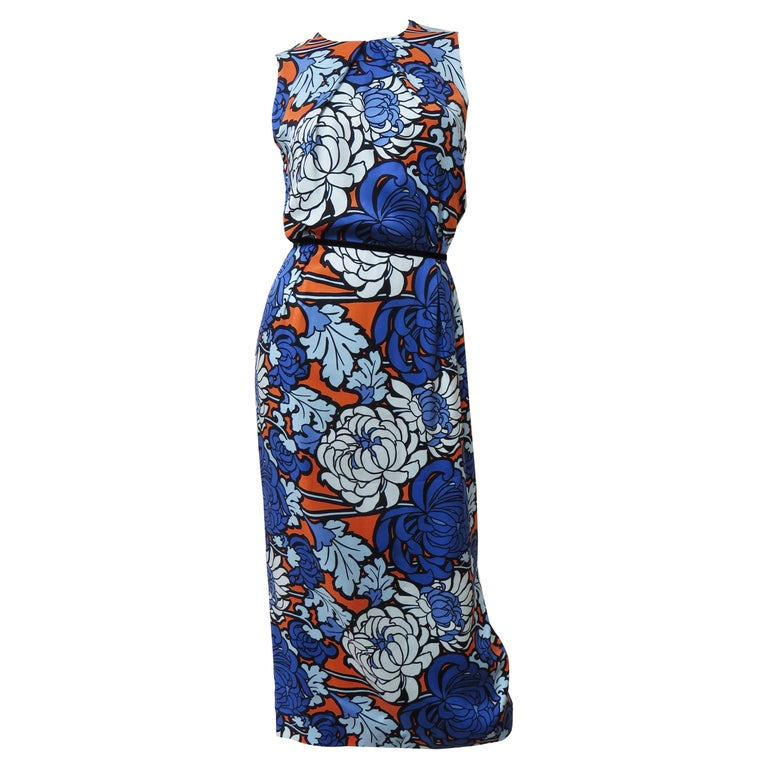 Gucci Silk Flower Print Dress For Sale