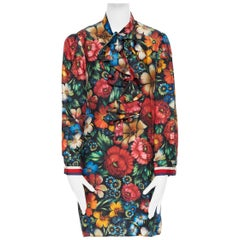 GUCCI Silk Nocturne floral print ruffle pussy bow pearl button collar dress IT46