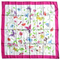 GUCCI silk Scarf  Butterfly - Floral  Never Worn, 1990s