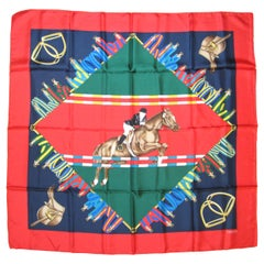 Gucci Silk Scarf Equestrian Horse Jumping New, Never worn 1990s