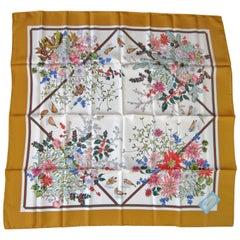 Gucci Silk Scarf Floral Bird Motif 1990s New, Never worn