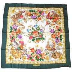 "Gucci Silk Scarf  ""Le Leggende"" Floral Green Border New, Never Worn 1990s"
