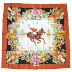 Gucci Silk Scarf Polo Horse Back Floral, New Never worn 1990s