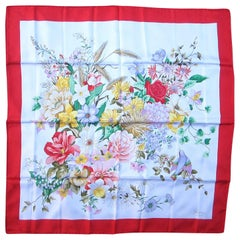 Gucci Silk Scarf Red Floral Motif 1990s, New, Never Worn