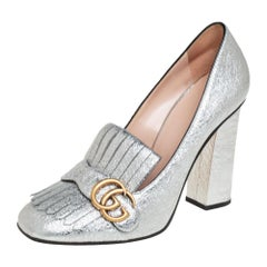 Gucci Silver Crackle Leather GG Marmont Fringe Block Heel Pumps Size 40
