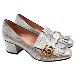 Gucci Silver Fringed GG logo Mid-heel Marmont Pumps - Size 37.5