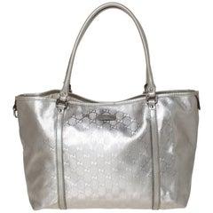 Gucci Silver GG Imprime Canvas and Leather Medium Joy Shopper Tote