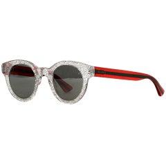 Gucci Silver Glitter Sunglasses w/ Web Print