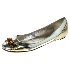 Gucci Silver/Gold Leather Bamboo Horsebit Ballet Flats Size 37.5