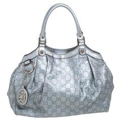 Gucci Silver Guccissima Leather Medium Sukey Tote