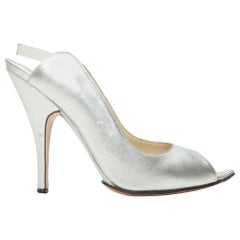 Gucci Silver Leather Peep-Toe Slingback Pumps