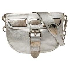 Gucci Silver Leather Romy Shoulder Bag