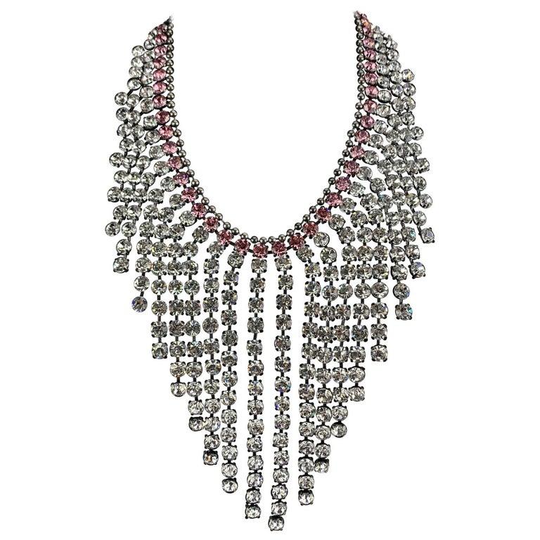 Gucci Silver Metal Pink Crystal Embellished Bib Necklace Never Worn For Sale