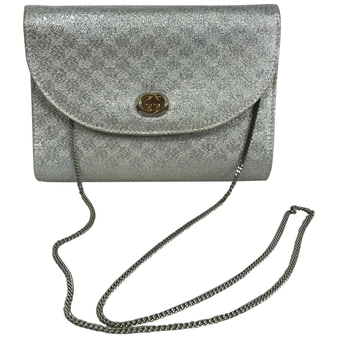 Gucci Silver Metallic Logo Evening Bag Shoulder Bag
