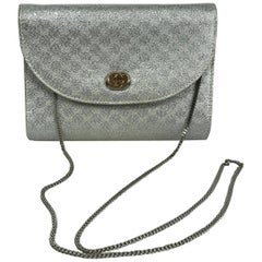 Gucci Silver Metallic Logo Evening Bag Shoulder Bag