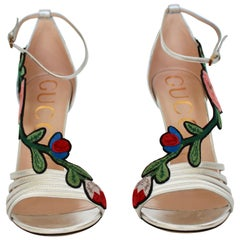 Gucci  Silver Ophelia Floral Embroidered Sandals