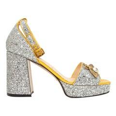 Gucci Silver Soko Glitter Platform Sandals
