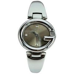 Gucci Silver Stainless Steel Diamond 134.5 Wrist Watch Silver Dial