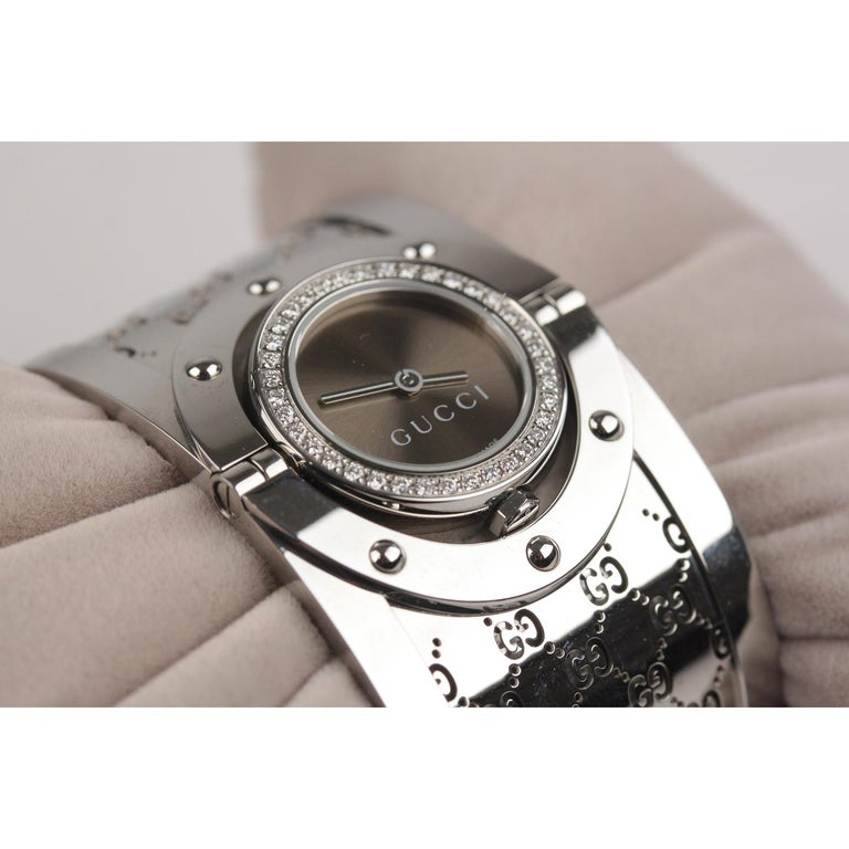 Women's Gucci Silver Stainless Steel Diamonds Twirl Wrist Watch Bracelet Bangle For Sale