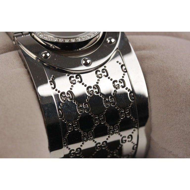 Gucci Silver Stainless Steel Diamonds Twirl Wrist Watch Bracelet Bangle For Sale 1