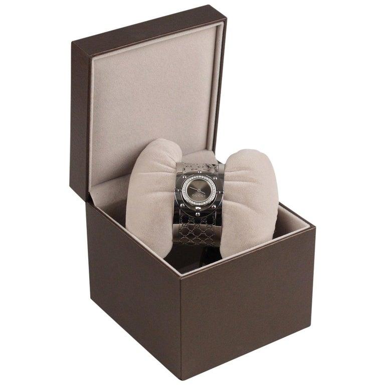 Gucci Silver Stainless Steel Diamonds Twirl Wrist Watch Bracelet Bangle For Sale