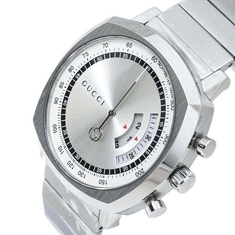 Contemporary Gucci SIlver Stainless Steel Grip YA157302 Men's Wristwatch 40 mm