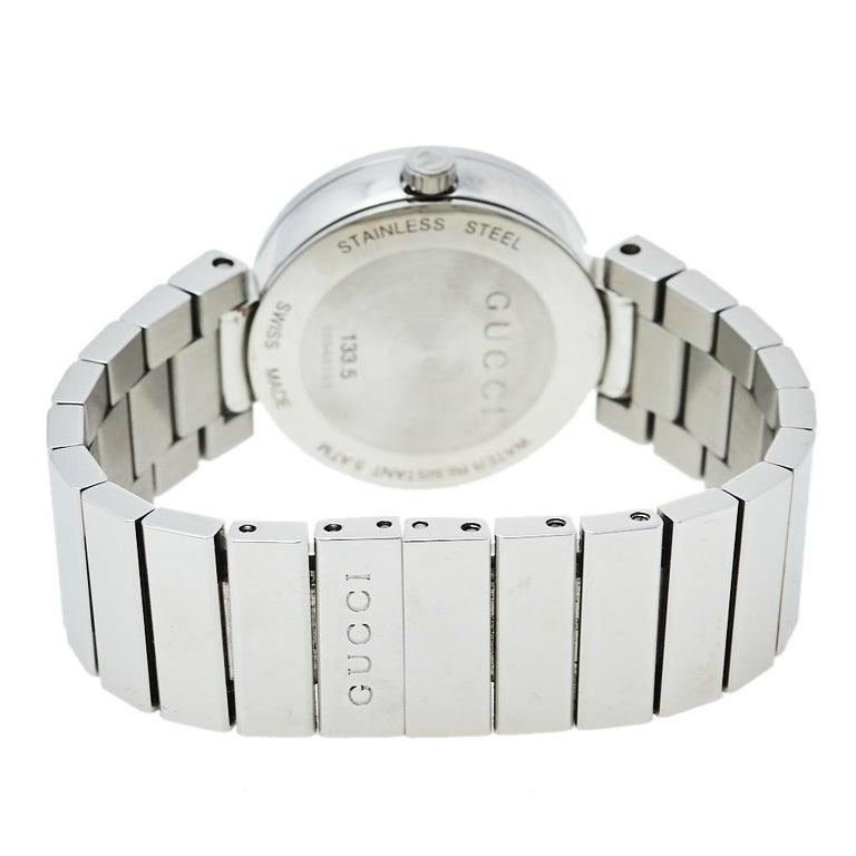 Gucci Silver Stainless Steel Interlocking YA133503 Women's Wristwatch 29 mm For Sale 1