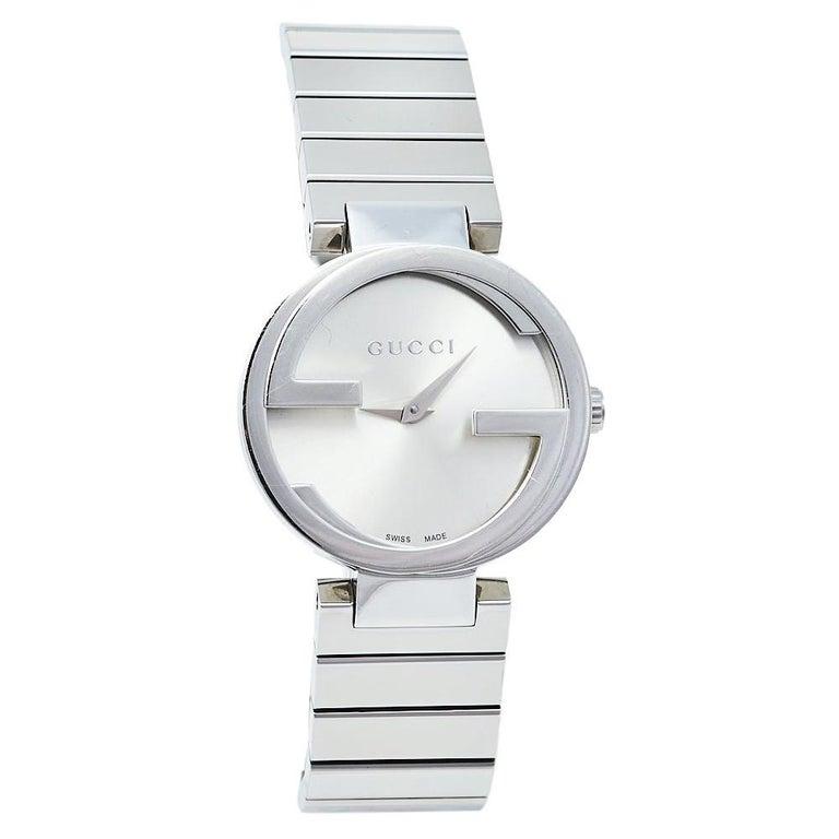 Gucci Silver Stainless Steel Interlocking YA133503 Women's Wristwatch 29 mm For Sale