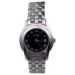Gucci Silver Stainless Steel Mod 5500 L Wrist Watch Black Dial