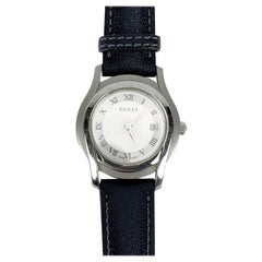 Gucci Silver Stainless Steel Mod 5500 L Wrist Watch White Dial
