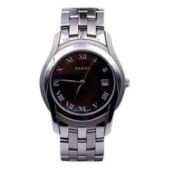 Gucci Silver Stainless Steel Mod 5500 M Quartz Wrist Watch Black