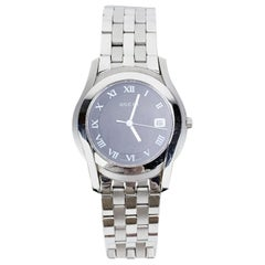 Gucci Silver Stainless Steel Mod 5500 M Unisex Wrist Watch Black Dial