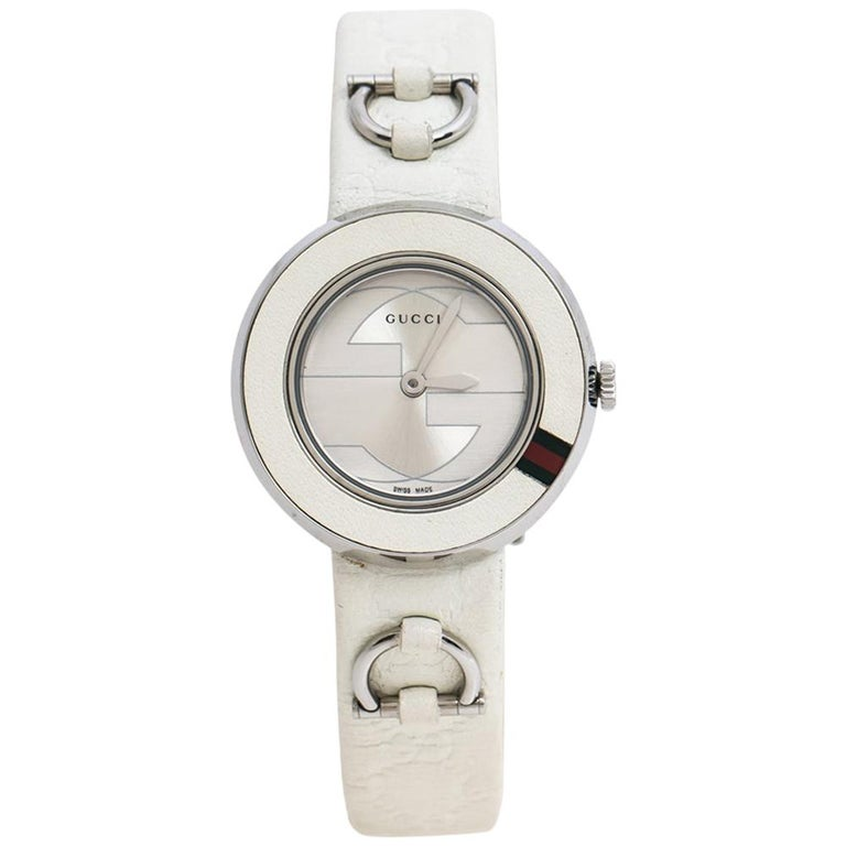 Gucci Silver Stainless Steel U-Play 129.5 Women's Wristwatch 27 mm For Sale
