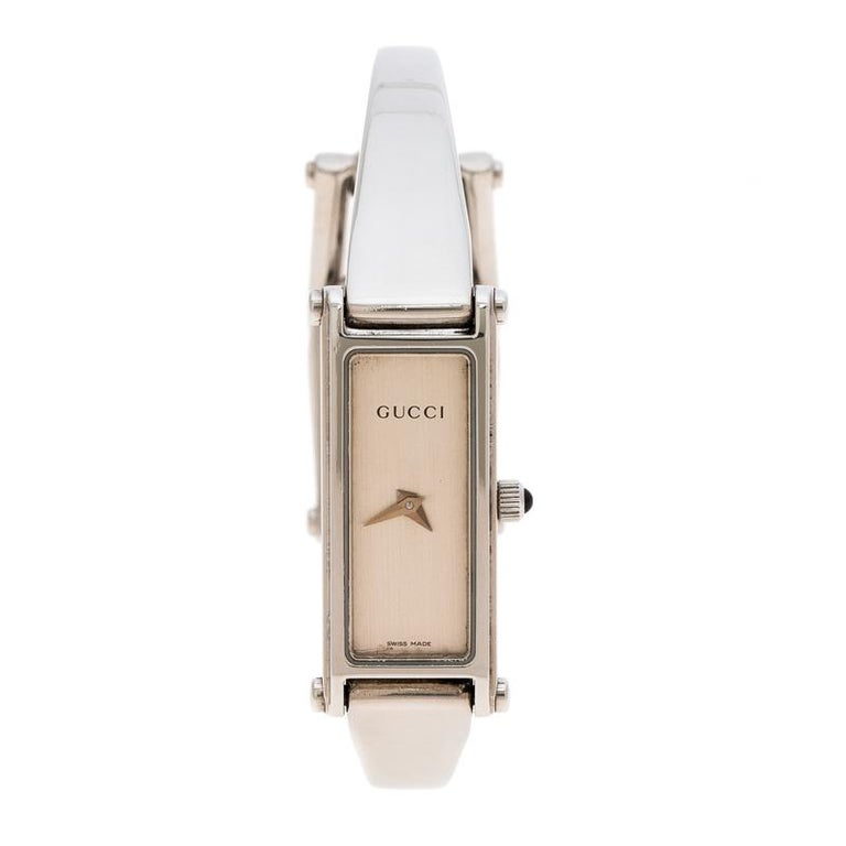 c5961bb07b5 Gucci Silver White Stainless Steel 1500L Women s Wristwatch 12MM For Sale