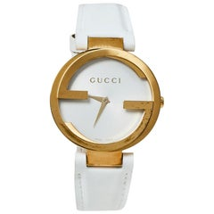 Gucci Silver White Yellow Gold PVD Coated Stainless Steel Rubber Wristwatch37MM