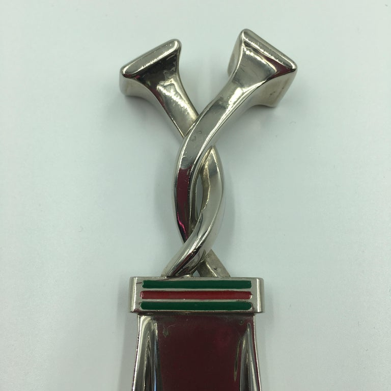 Gucci Silver with Red and Green Classic Stripe Shoehorn  For Sale 1