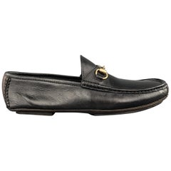 GUCCI Size 10 Black Leather Gold Tone Horsebit Driver Sole Loafers