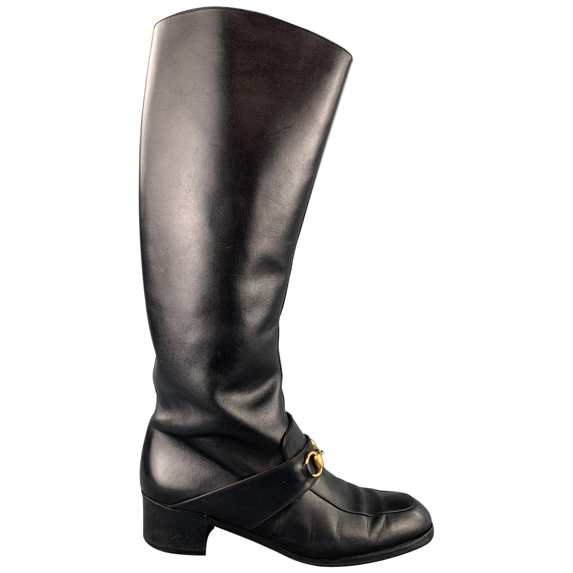 GUCCI Size 10 Black Leather Horsebit Riding Boots
