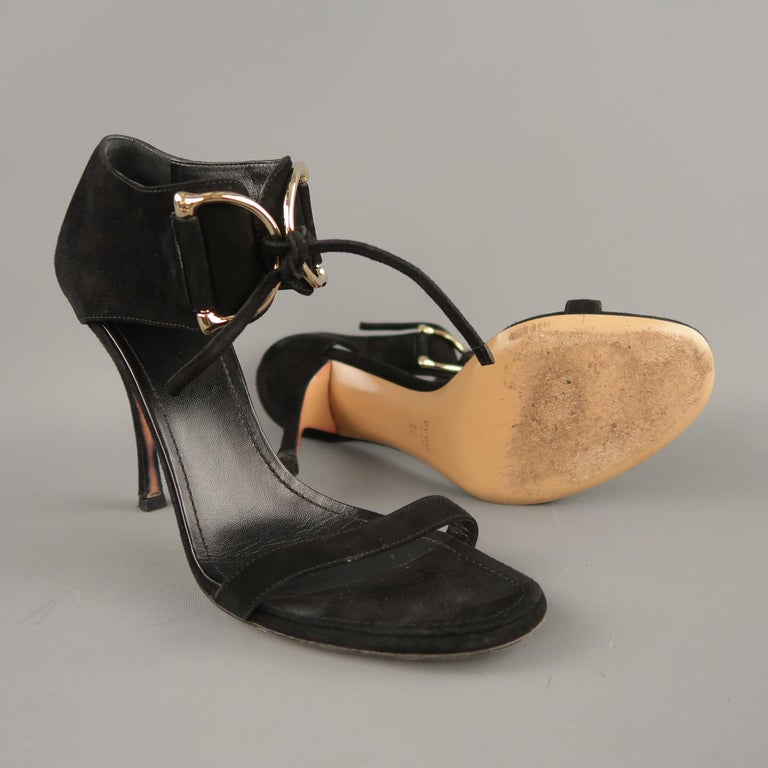 GUCCI Size 10 Black Suede Thick Gold D Loops Tied Ankle Strap Sandals In Good Condition For Sale In San Francisco, CA