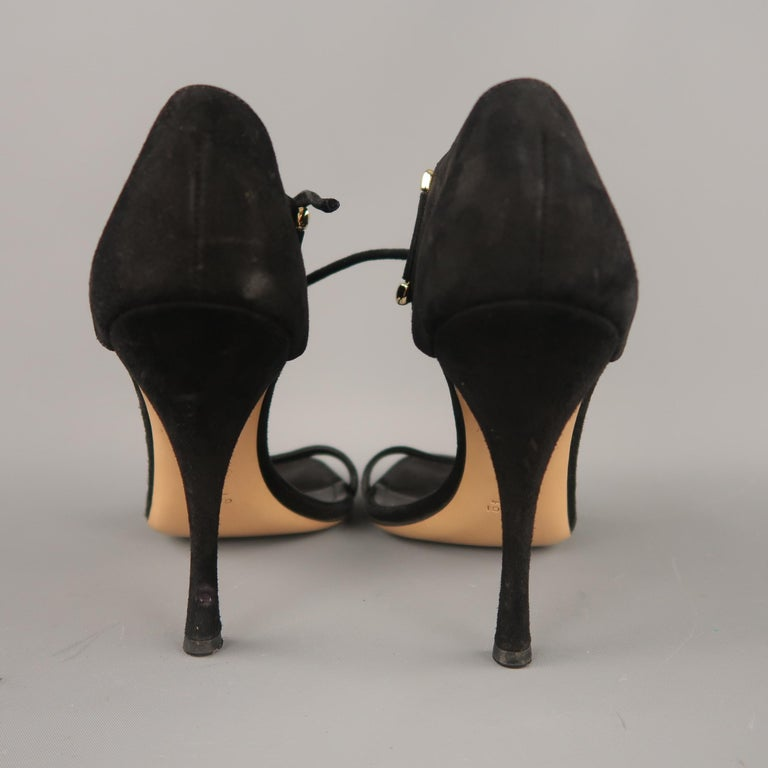GUCCI Size 10 Black Suede Thick Gold D Loops Tied Ankle Strap Sandals For Sale 3
