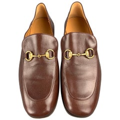 GUCCI Size 10 Brown Leather Horsebit Slip On Loafers