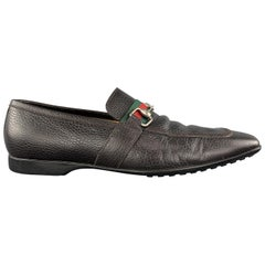 GUCCI Size 10 Dark Brown Leather Striped Band Horsebit Slip On Loafers