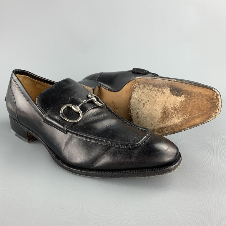 GUCCI Size 10.5 Black Leather Horsebit Loafers In Good Condition For Sale In San Francisco, CA