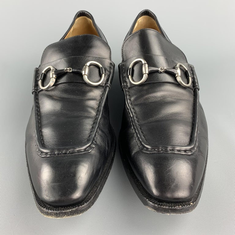 Men's GUCCI Size 10.5 Black Leather Horsebit Loafers For Sale