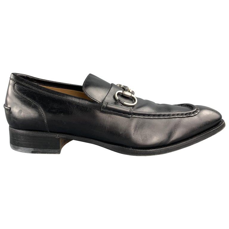 GUCCI Size 10.5 Black Leather Horsebit Loafers For Sale