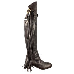 GUCCI Size 11 Brown Leather Tassel Pull On Boots
